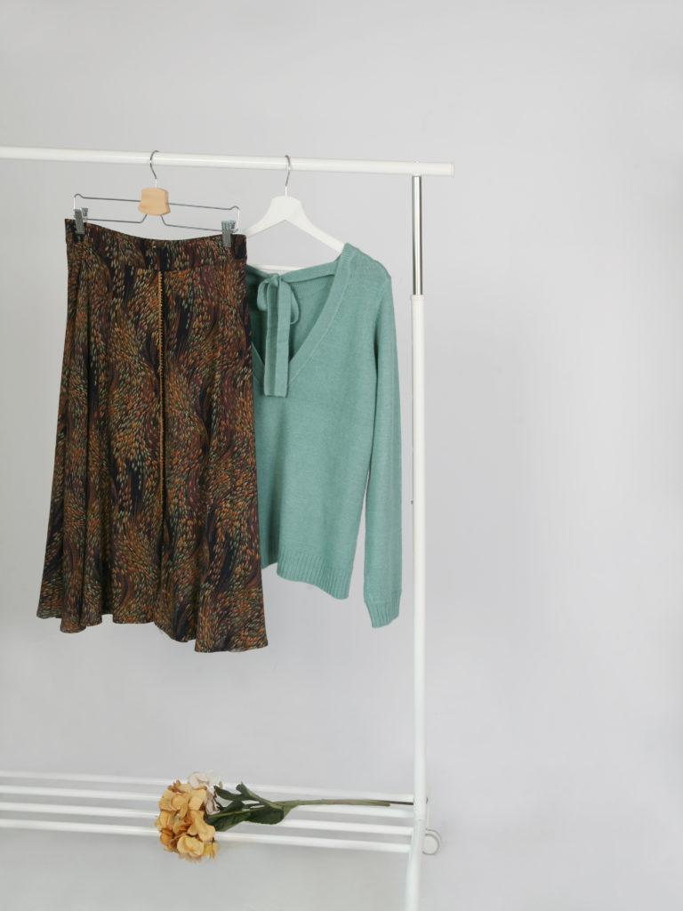 Falda midi estampada otoñal